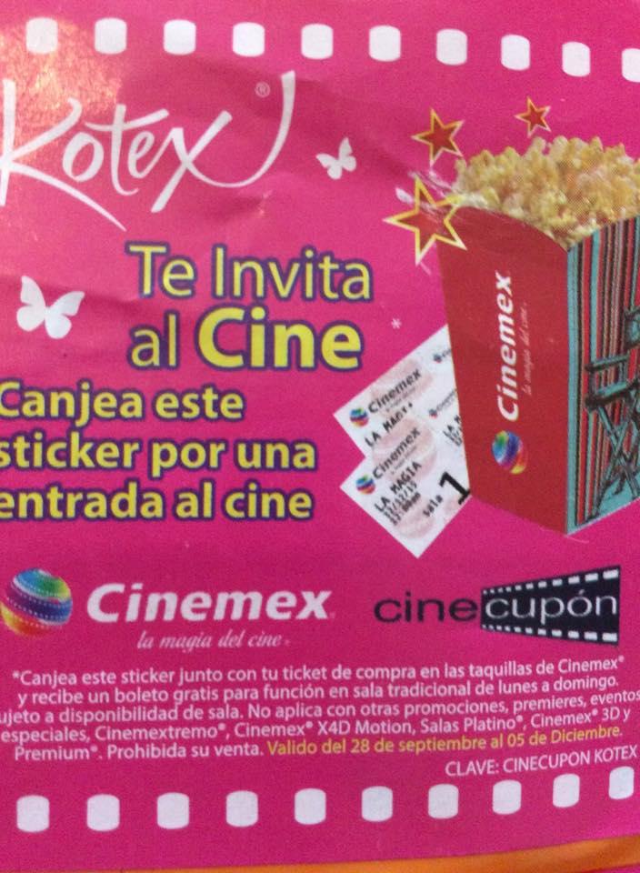 Boleto GRATIS para Cinemex comprando productos Kotex