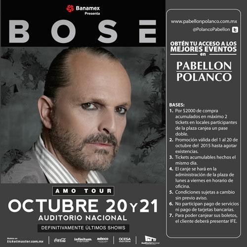 Boleto doble para Miguel Bosé o Corona Capital con compra mínima en Pabellón Polanco (DF)