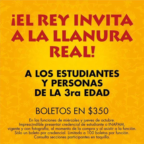 Boletos para El Rey León estudiantes y tercera edad $350 y descuentos para Nov-Ene (DF)