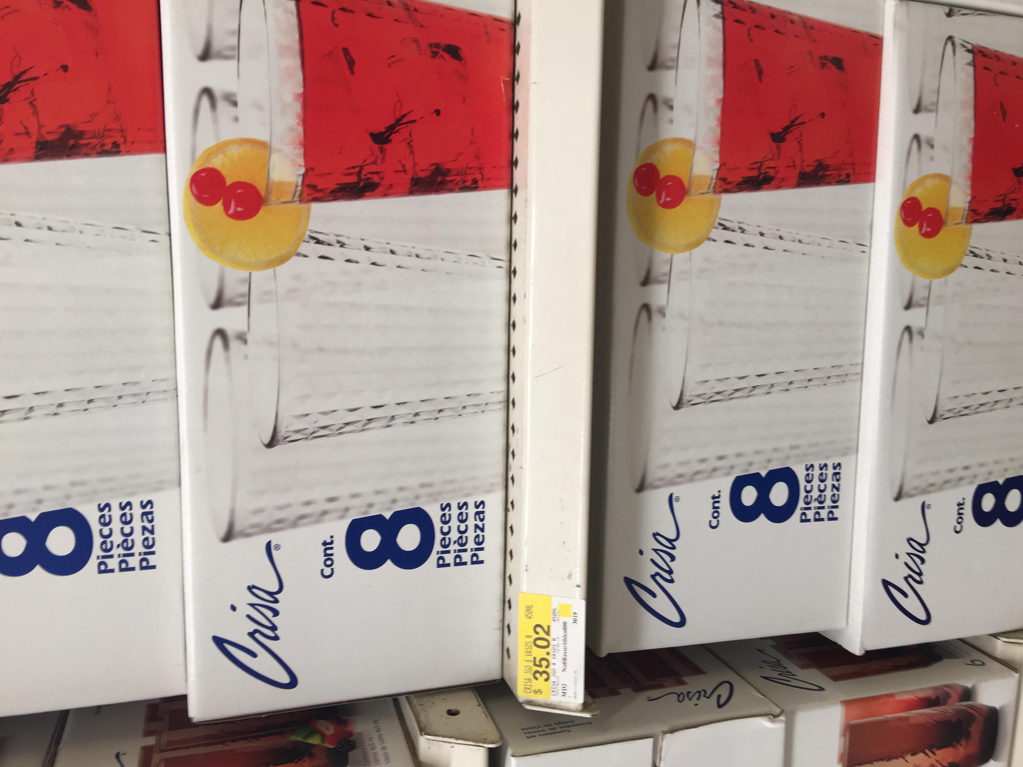 Bodega Aurrerá: liquidación de 8 vasos Crisa a 35.02 pesos y más