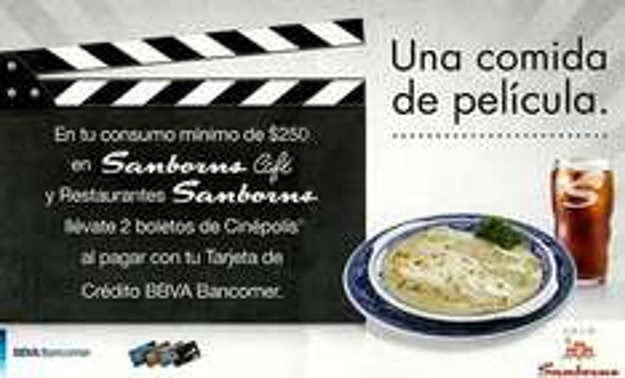 2 boletos gratis para Cinépolis pagando consumo en Sanborns con Bancomer