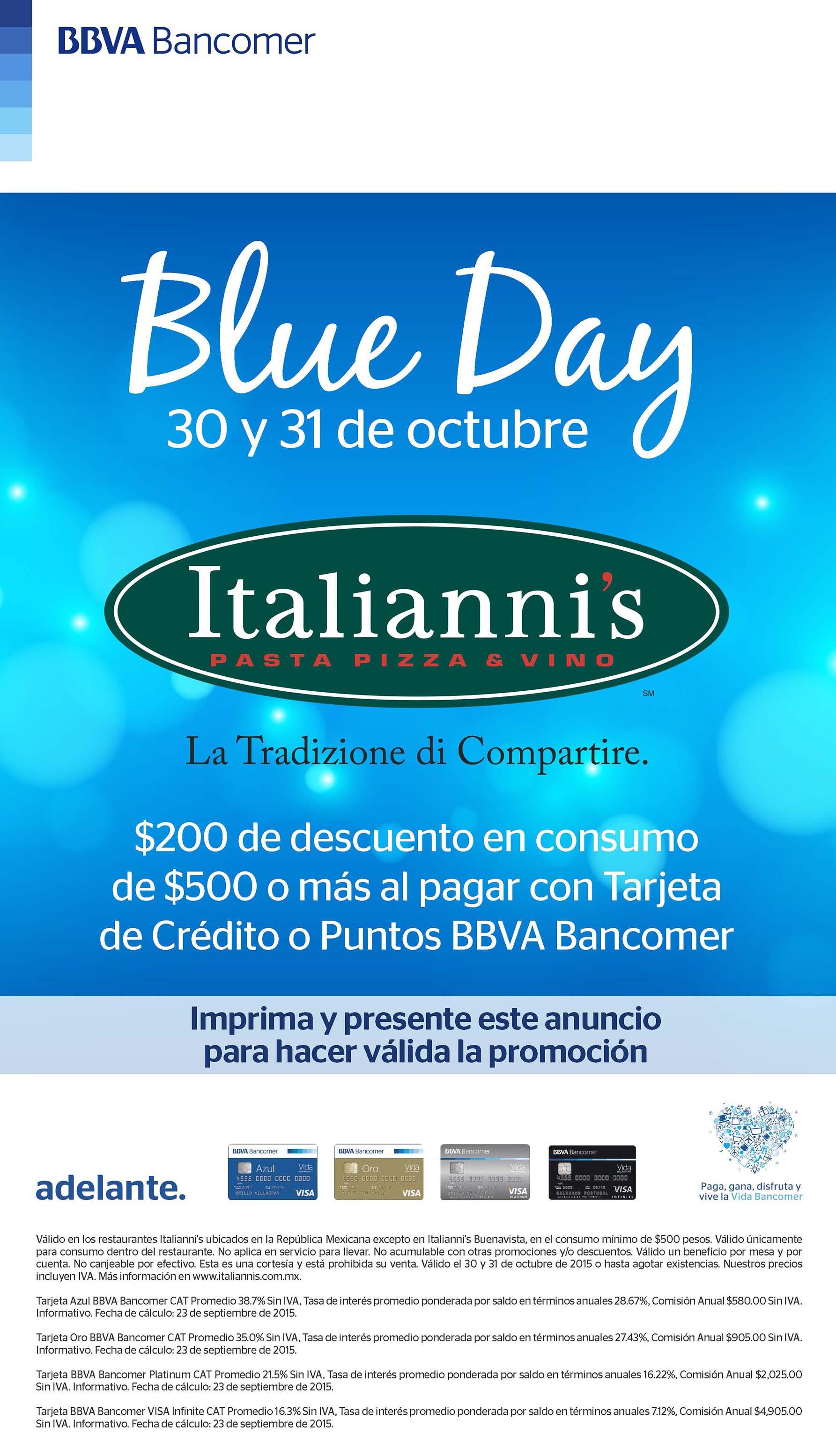 Italianni's: $200 de descuento en consumo de $500 con Bancomer (Oct 30 y 31)