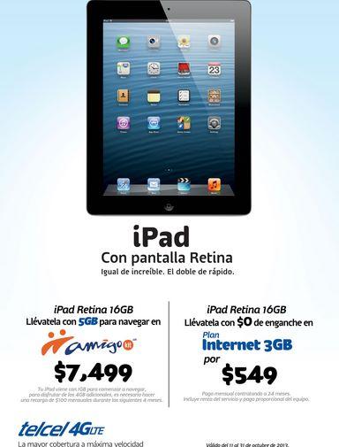 Telcel: iPad con Pantalla Retina 16GB Wi-Fi + Cellular $7,499
