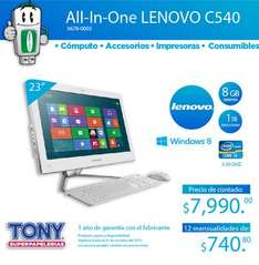 Tony: All-In-One Lenovo con 8GB de RAM y 1TB de DD $7,990 (otras tiendas $11,600)