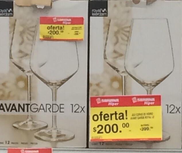 Soriana Hiper: 12 copas Avantgarde a $200