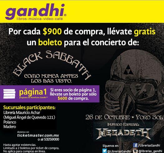 Gandhi: boleto para Black Sabath y Megadeth con $600 o $900 de compra