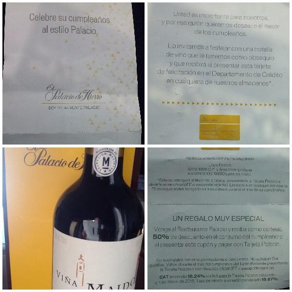Palacio de Hierro: Botella de Vino Gratis en tu Cumple (tarjeta PH)