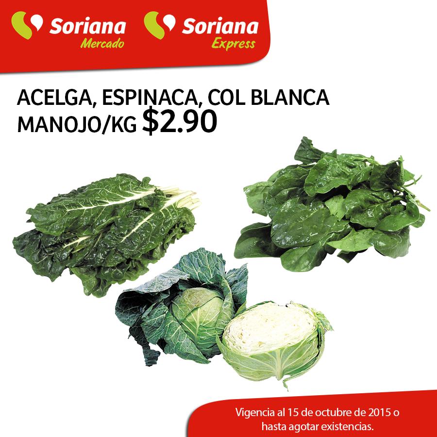 SORIANA: Acelga, Espinaca, Col blanca $2.90 pza