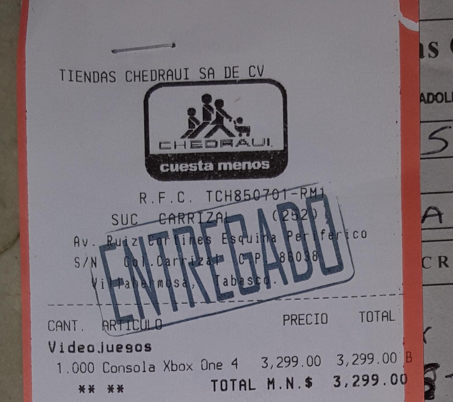 Chedraui (Villahermosa): Xbox One 500Gb Fifa 15 $3,299