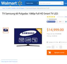 "Walmart: LED Smart TV Samsung 60"" 1080p Full HD Smart TV LED de 20,000 a 14,999"