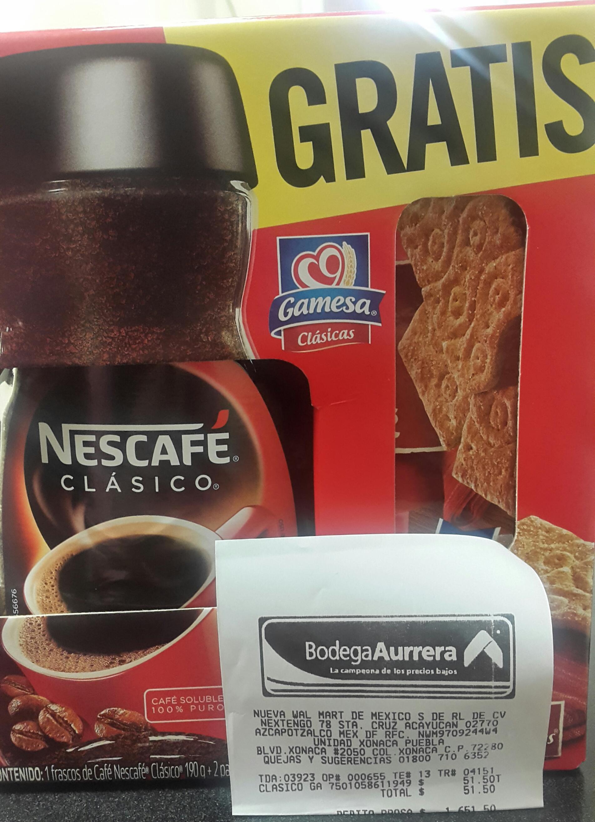 Bodega Aurrerá: Nescafé Clasico 190g $51.50 + 2 Ricanelas gratis
