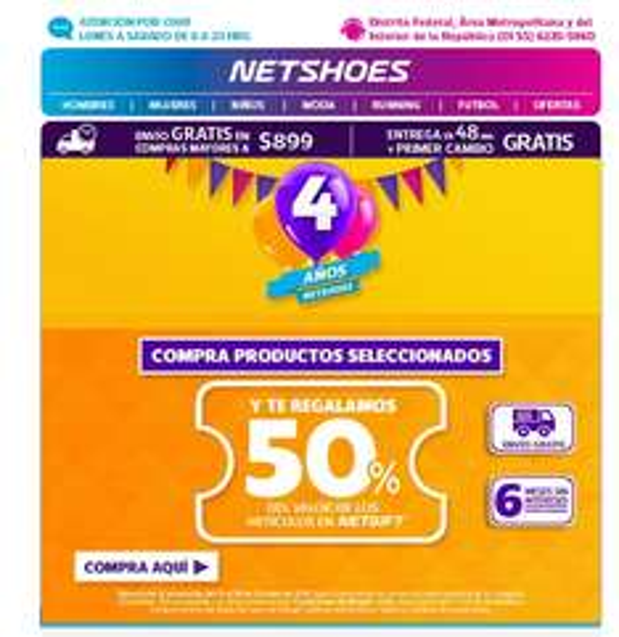 NEtshoes: 50% de reembolso en Netgift en artículos seleccionados