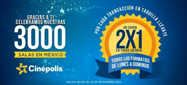 Cinépolis: cupón de 2x1 para todos los días y todas las salas por cada compra