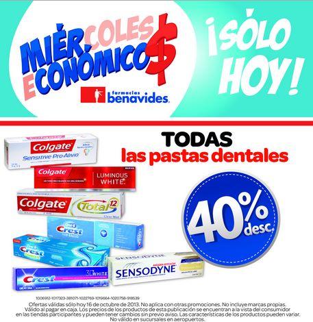 Farmacias Benavides: 40% de descuento en todas las pastas dentales