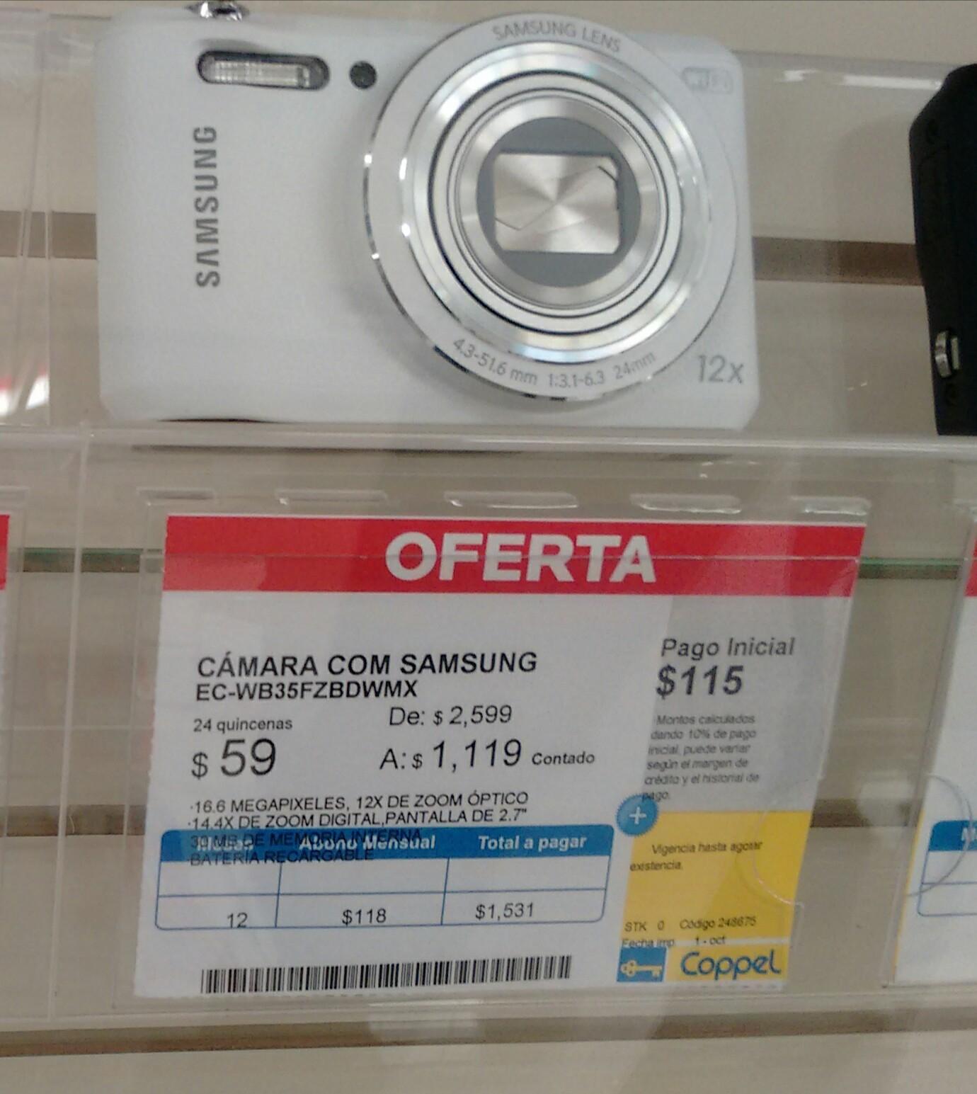 Coppel: Cámara Samsung WB35F con wifi $1,119