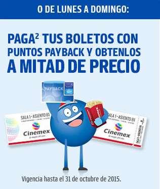 Cinemex: 50% de descuento en todas las salas de lunes a domingo con Payback