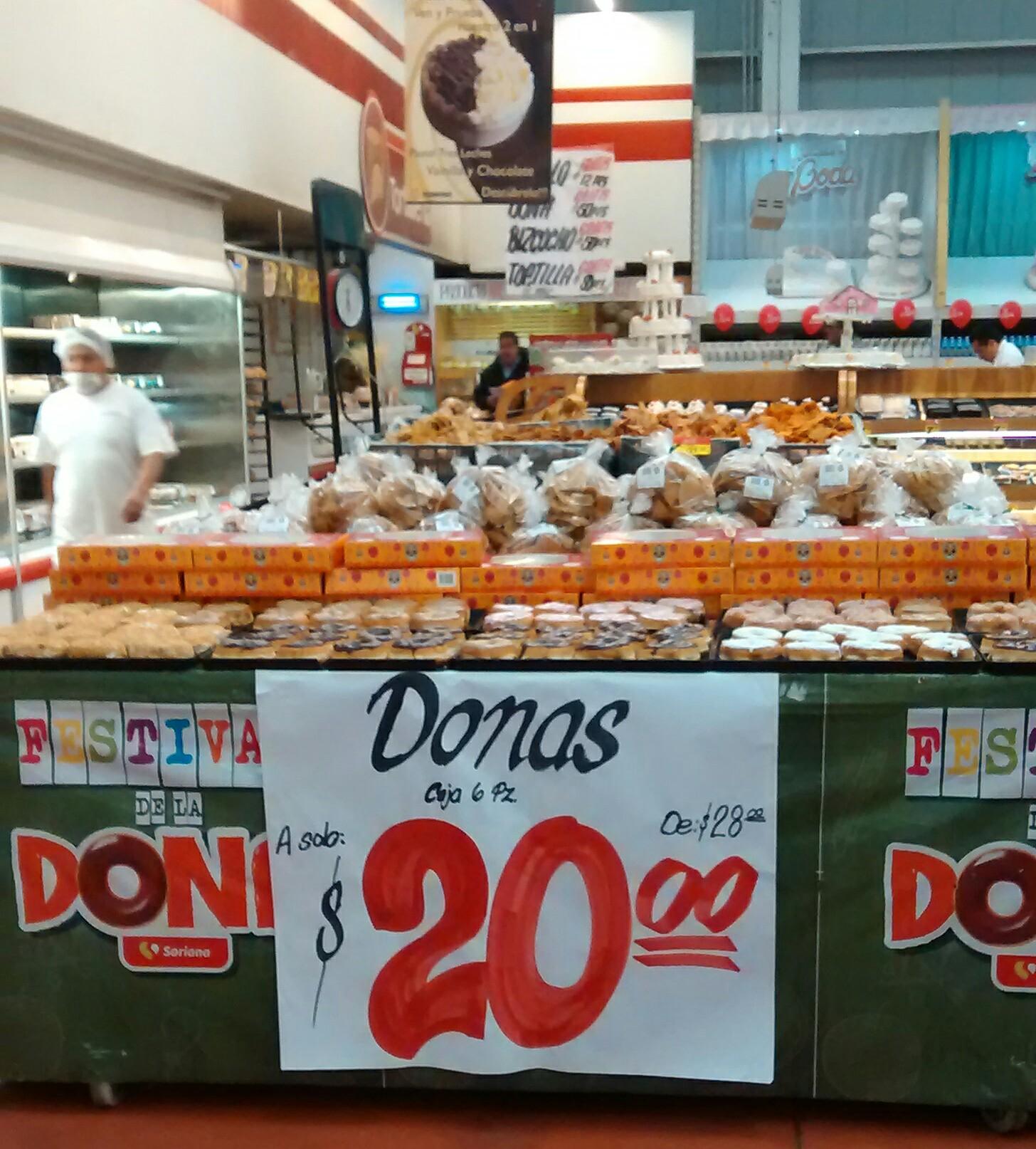 Oferta de donas en Soriana (6 por $20)