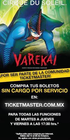 Ticketmaster: boletos para Cirque du Soleil sin cargo por servicio