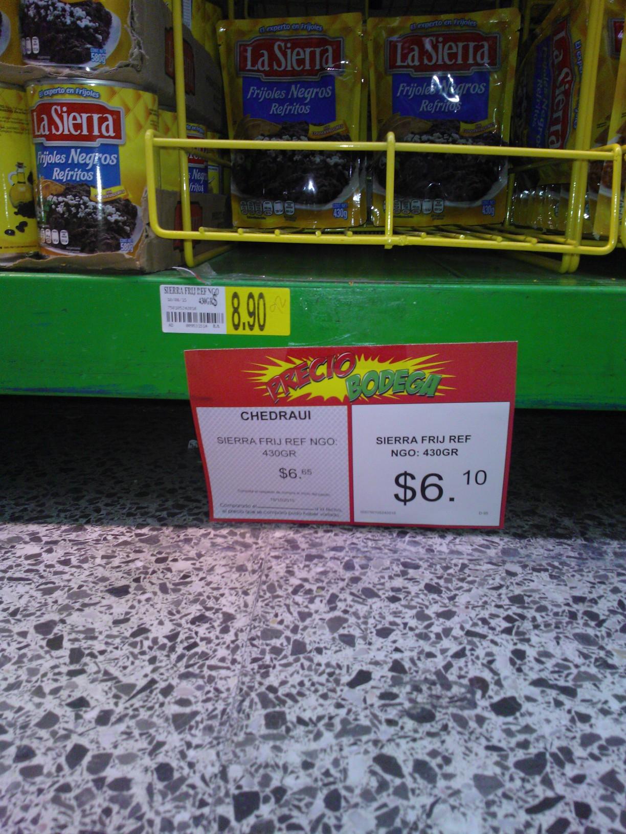 Bodega Aurrerá Puebla: Frijoles Refritos la Sierra $6.10