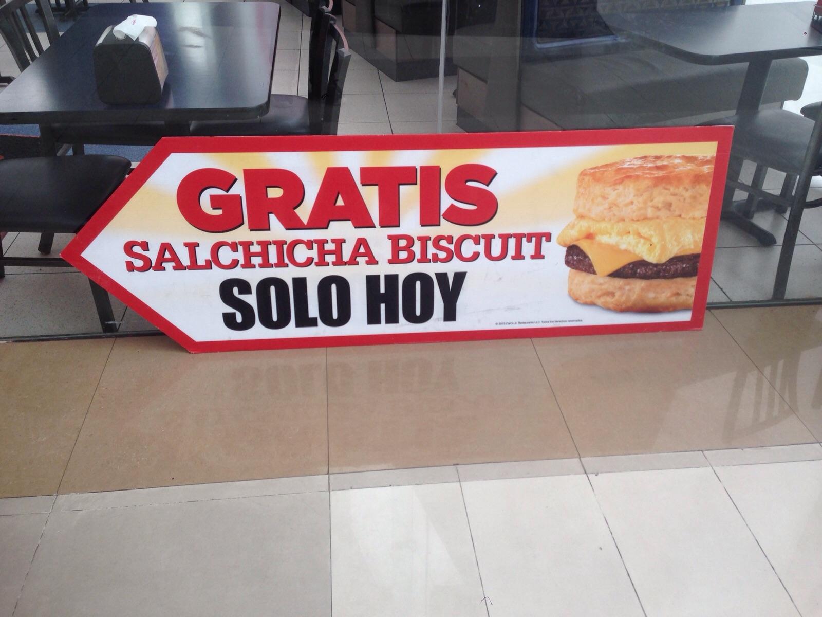 Salchicha biscuit gratis Carl's jr sin comprar nadaaa!!! (DF)