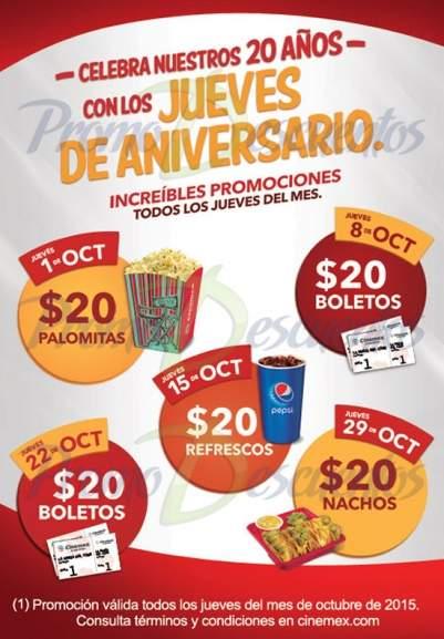Cinemex Jueves 22 Octubre,: todas las salas a $20 (X4D, Platino, 3D, Palco, etc)