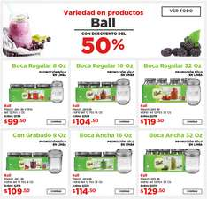 HEB: Productos ball Mason jar 12pzs 8oz con 50%