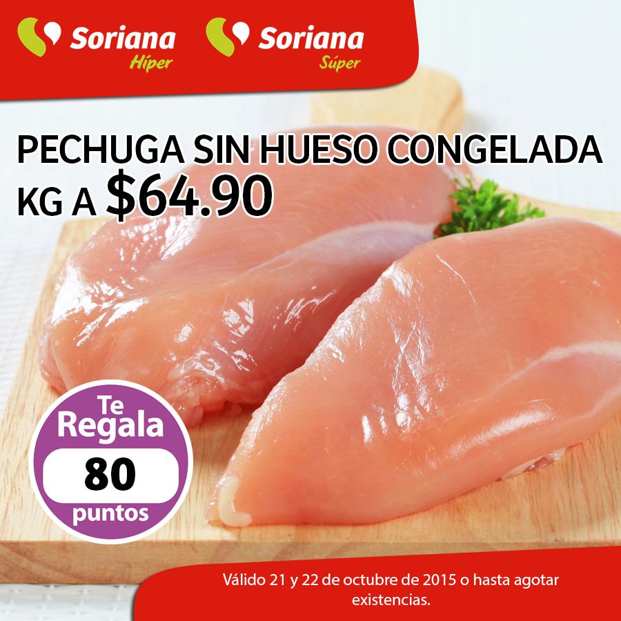 SORIANA: Pechuga sin hueso congelada $64.90 el kilo