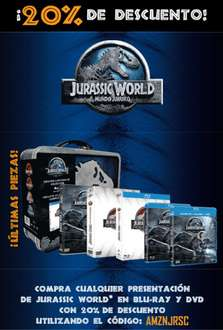 Amazon:. Tetralogia Jurasic World en Blu-Ray con lonchera. 20% de descuento