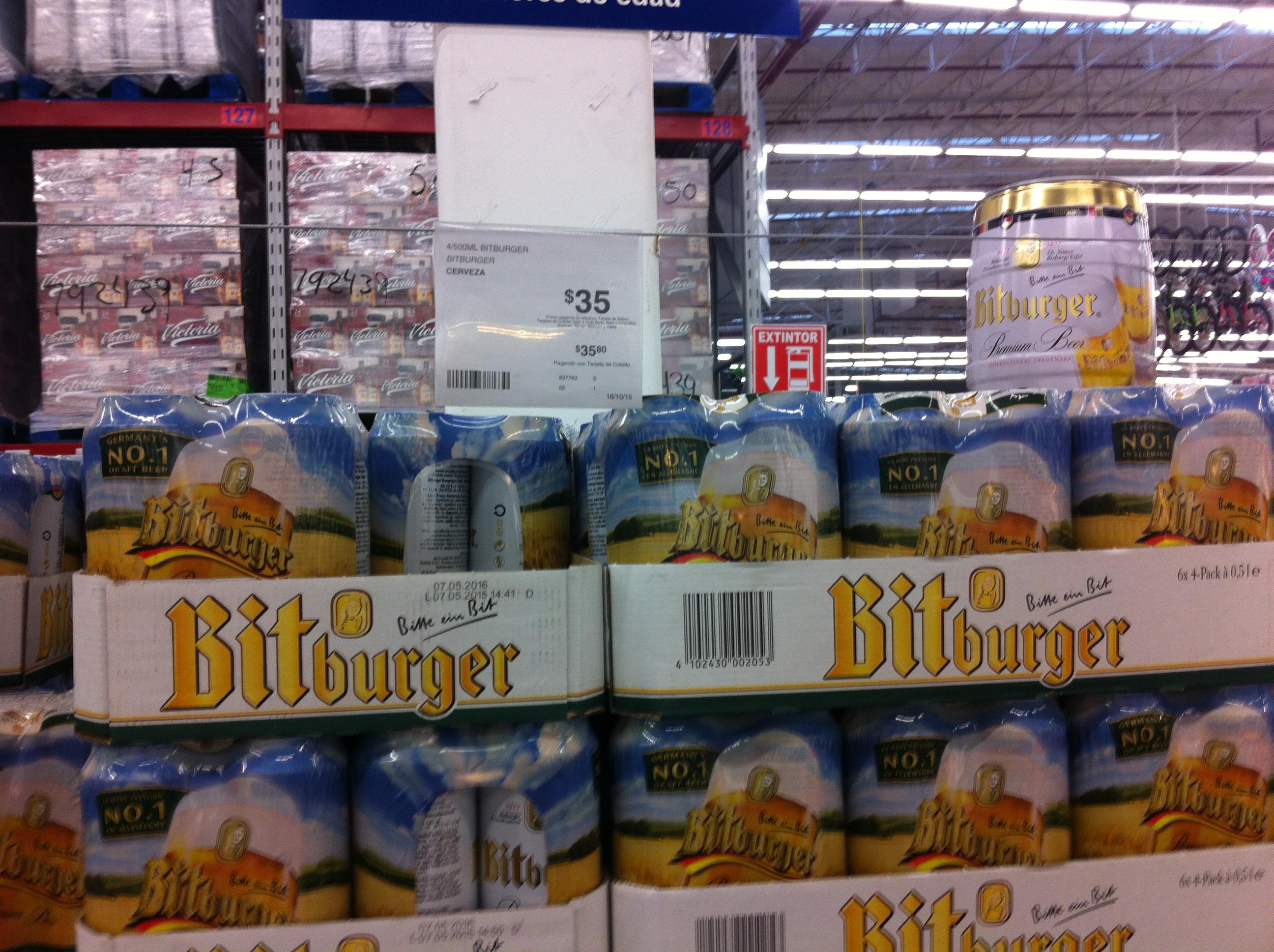 Cerveza Alemana Bitburger 35 pesos en Sam's Club