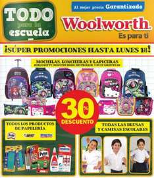 Woolworth: 30% de descuento en mochilas, lapiceras, loncheras, plumas, camisas escolares y +