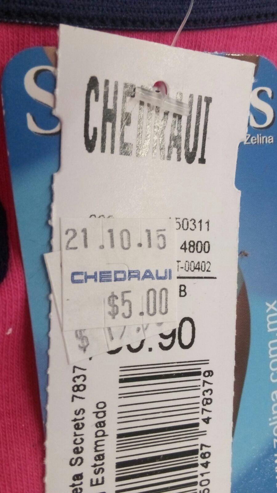 chedraui (Villahermosa): pantaletas y brassieres $5