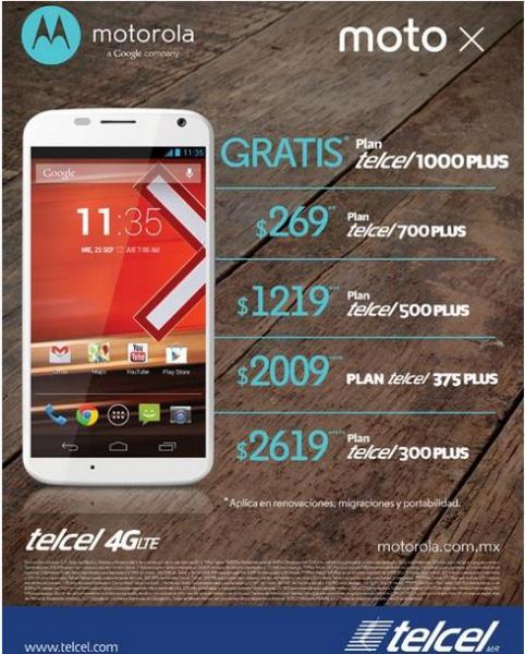 Telcel: Moto X a $1,219 en plan Telcel 500 Plus, $2,009 en Telcel 375 Plus y más