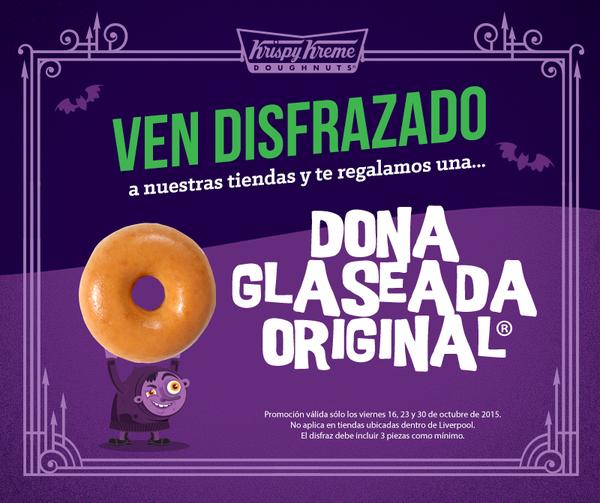 Krispy Kreme: dona gratis disfrazado 23 y 30 de octubre