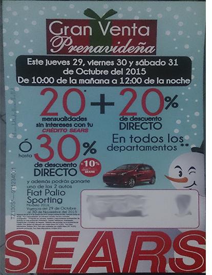 Sears Venta Prenavideña 29, 30 y 31 de octubre
