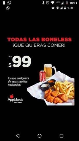 Applebee's: Todas las boneless que quieras comer por $99 (Saltillo, Monterrey y ?)