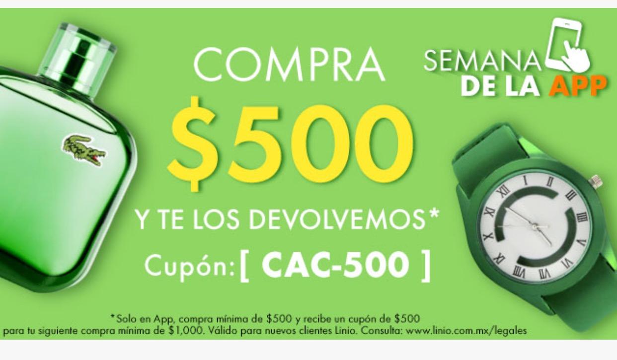 Linio: Cupón CAC-500 / compra minimo $500 y recibe cupon de $500