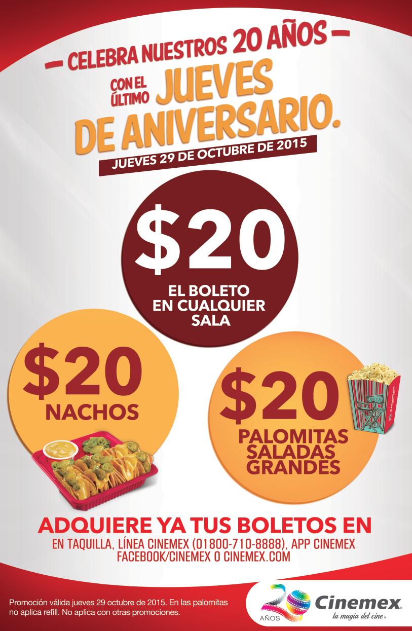 Cinemex jueves 29 de octubre: boletos, nachos o palomitas grandes a $20