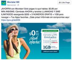 Movistar Prepago simple 1GB+RS, llamadas y sms ilimitados (Portando numero)