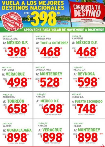 Vivaaerobus: Guadalajara a DF $398, DF a Cancún $698 y más en noviembre y diciembre