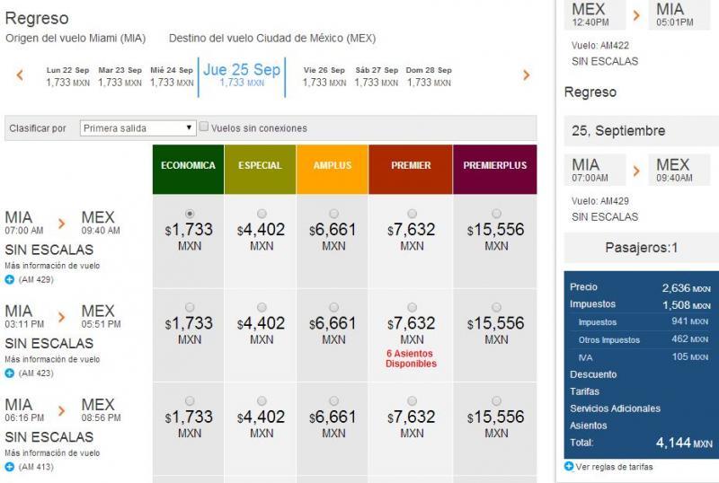 Venta especial Aeroméxico: ejemplo DF a Miami redondo 315 dólares