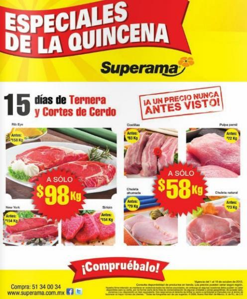 Superama: rib eye $98/Kg, chuleta ahumada o costillas $58/Kg y más