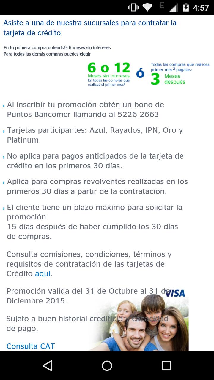 Tarjeta de crédito bancomer 6 y 12 meses sin intereses + paga 3 meses después