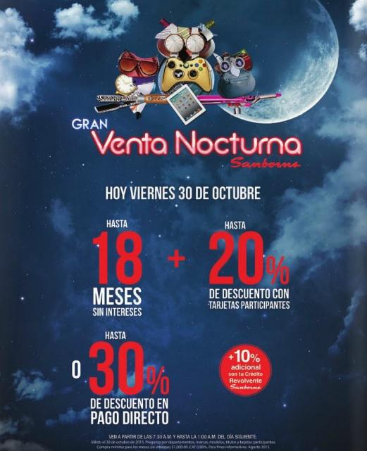 Sanborns: Hoy Venta Nocturna hasta 18 msi + 20% de descuento o hasta 30% de descuento directo.