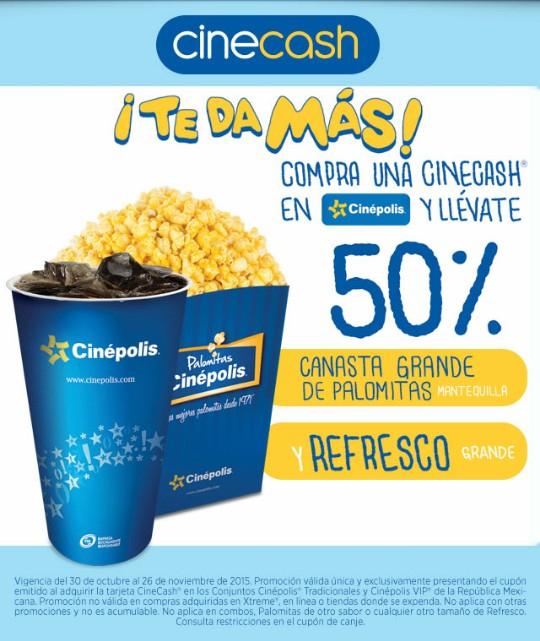 Cinépolis: Cupón de palomitas y refresco al 50% comprando Cinecash