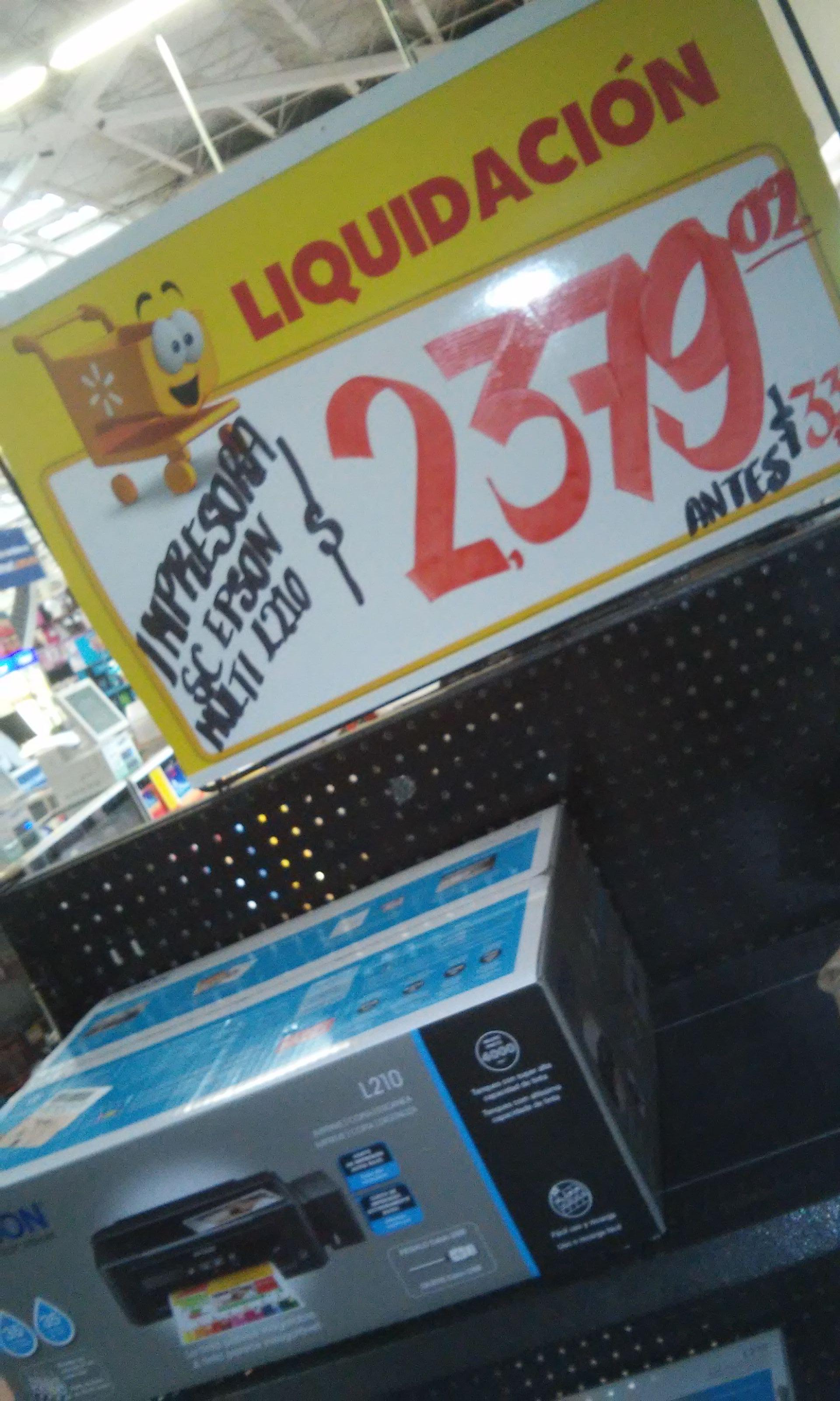 Walmart la huerta Morelia: Multifuncional Epson L210 con tanque de tinta $2379.02