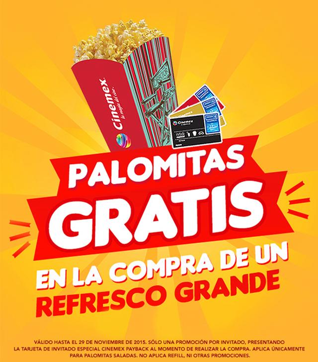Cinemex: Palomitas gratis comprando un refresco grande.