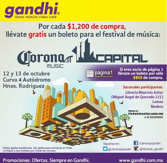 Gandhi: boleto gratis para Corona Capital por cada $800 o $1,200 de compra (regular $1,860)
