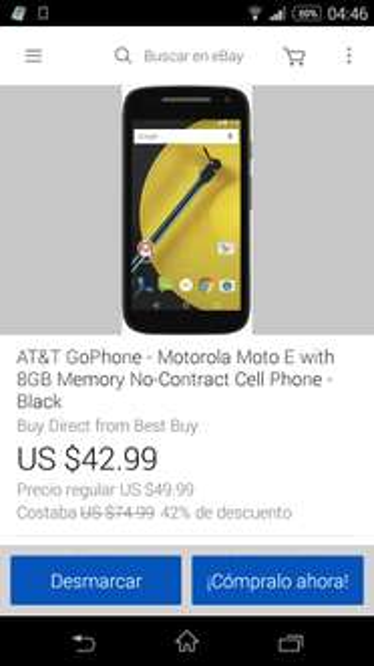 Moto e 2015  en ebay a 42.99 dolares