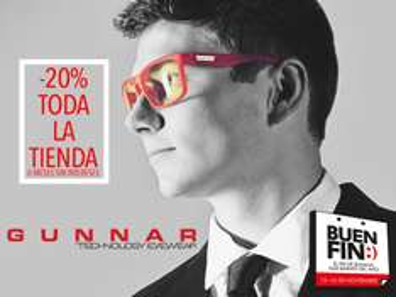 Ofertas del Buen Fin 2015 en Gunnar: 20% de descuento + 6msi en tienda online.