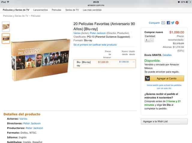AMAZON: 20 Películas Favoritas (Aniversario 90 años) Blu-Ray a $1,099